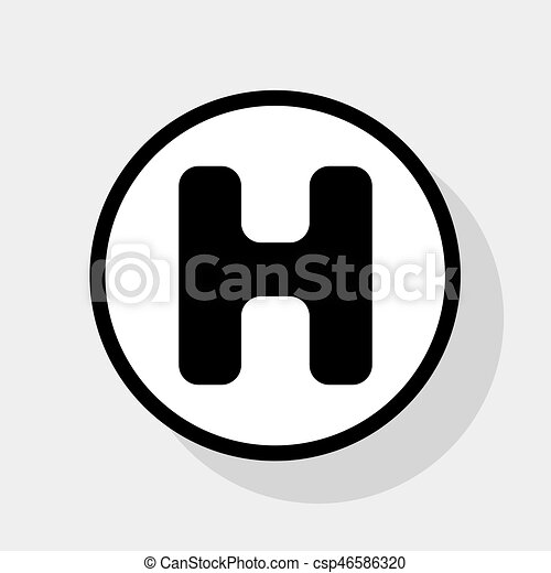 letter h sign design template element vector flat black icon in