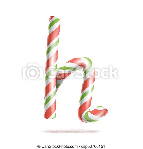 Letter H Vector D Realistic Candy Cane Alphabet Symbol In