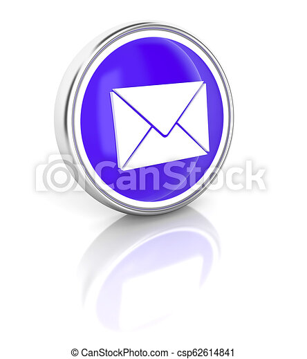 Letter icon on glossy blue round button - csp62614841