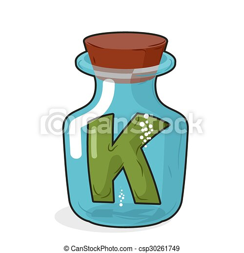 Letter in a laboratory bottle. K In a magic bottle with a wooden lid. Research letters. Vector illustration - csp30261749