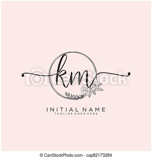 Letter Initial Km Beauty Monogram And Elegant Logo Design Initial Handwriting Logo Design Logo For Fashion Photography