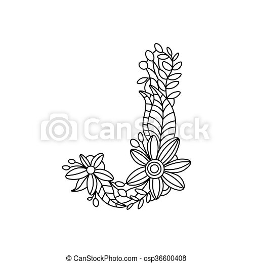 Letter J Coloring Book For Adults Vector