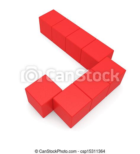Letter J Cubic Red