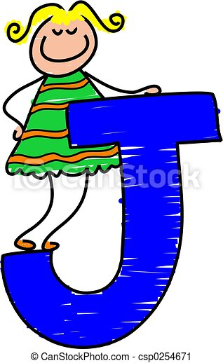 letter j girl little girl standing on letter j clipart search rh canstockphoto com Letter N Clip Art fancy letter j clipart