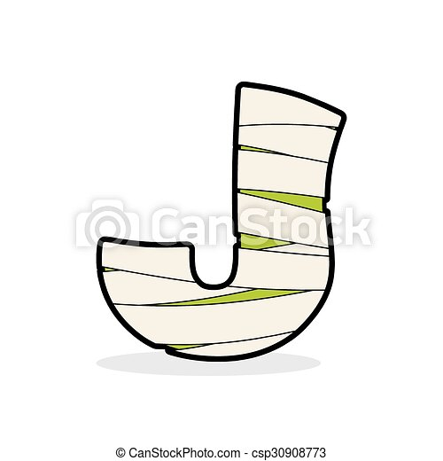 Letter J Mummy Typography Icon In Bandages Horrible Egyptian