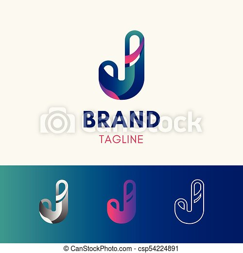 Letter J Rounded Logo Template Element Symbol In Multi Color Eps