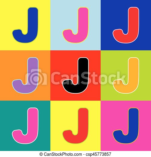 Letter J Sign Design Template Element Vector Pop Art Style Colorful Icons Set With 3 Colors