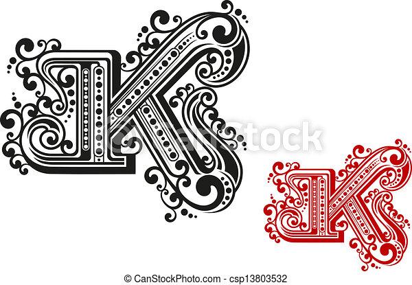 Letter K In Retro Vintage Style For Design And Embellish