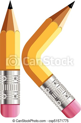 Letter K Pencil Icon Cartoon Style Letter K Pencil Icon Cartoon