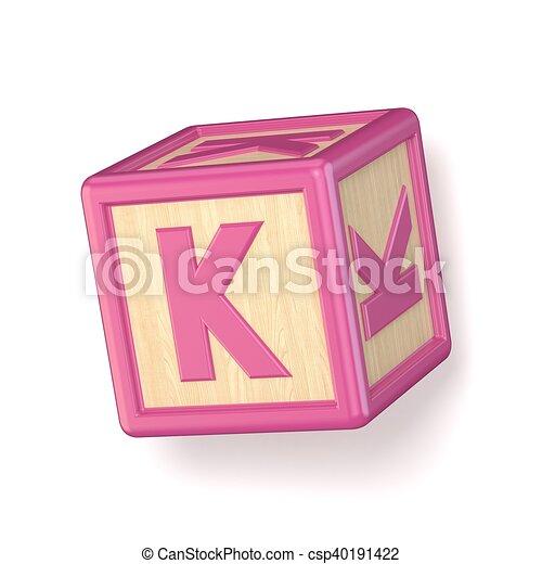 letter k wooden alphabet blocks font rotated 3d csp40191422