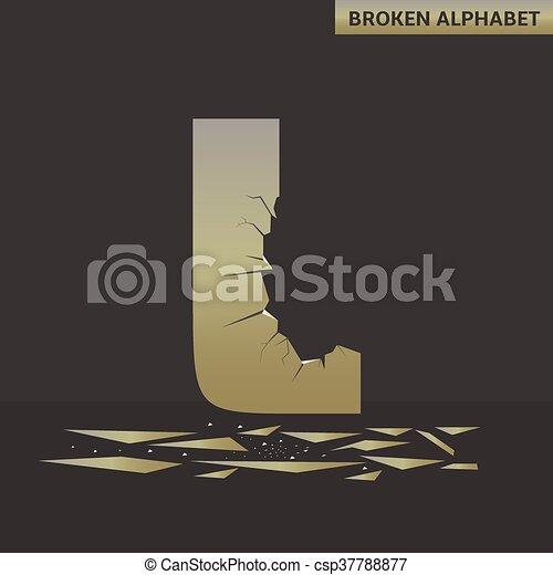 Letter L. Broken mirror - csp37788877