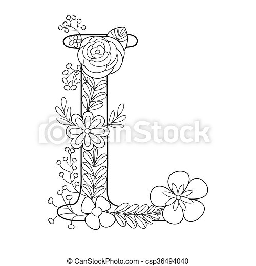 Letter L Coloring Book For Adults Vector