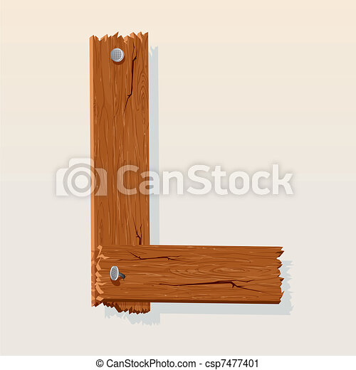 Letter L From vector Wooden Alphabet - csp7477401