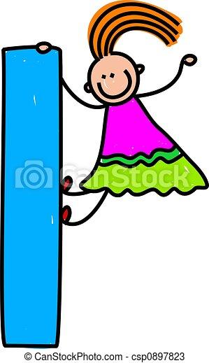 Letter L Girl Happy Little Climbing Over Giant