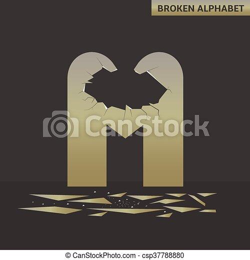 Letter M. Broken mirror - csp37788880