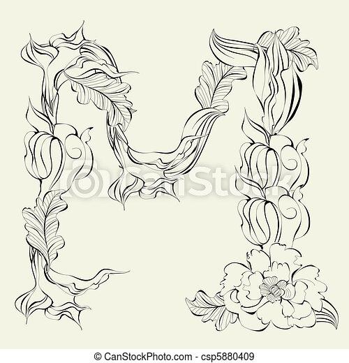 Decorative Font Letter M
