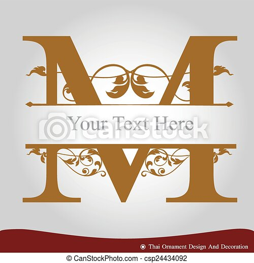 Letter M In The Old Vintage Style