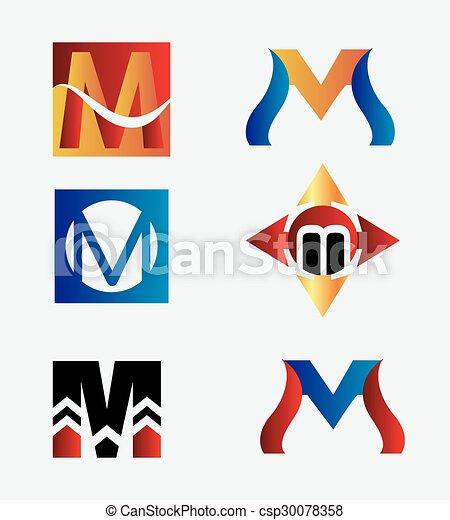 Letter M logo set - csp30078358