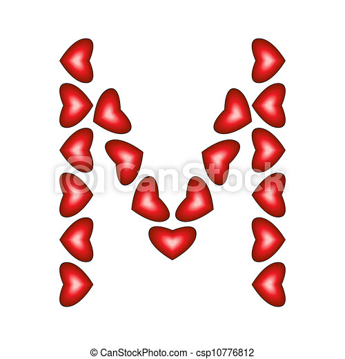 Letter M Made Of Hearts On White Background