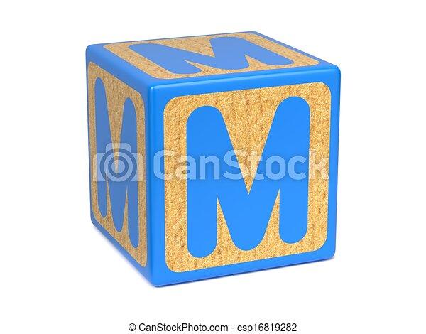 Letter m on childrens alphabet block Letter m on blue stock