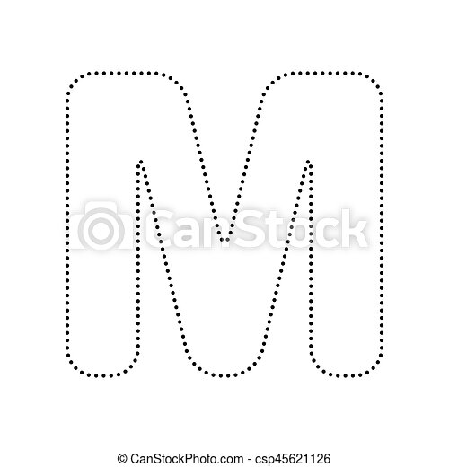 letter m sign design template element vector black dotted icon on white background isolated