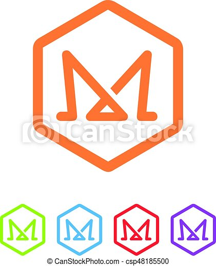 An Amazing Letter M Symbol Inside Hexagon Design Vector Clipart