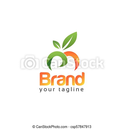 letter m with green leaf on white background logo design template