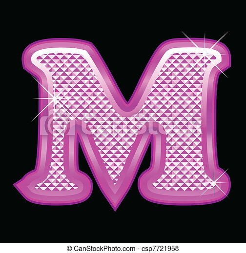 Letter M With Pink Bling Pattern Special For Girls