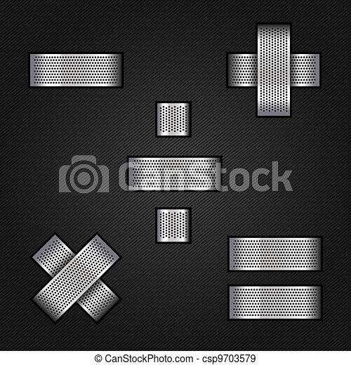 Letter metal chrome ribbon - Mathematical signs - csp9703579
