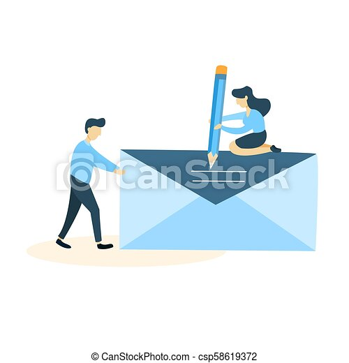 letter., mulher, homem - csp58619372