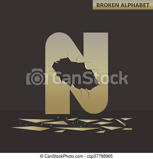 Letter N. Broken mirror - csp37788865