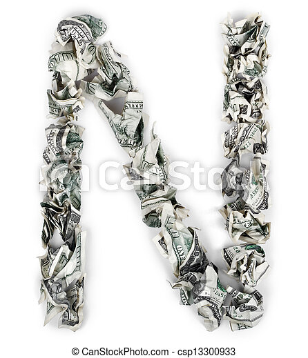 Letter Made Out Of Objects.Letter N Crimped 100 Bills