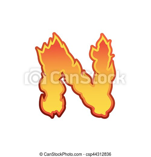 Letter N fire  Flames font lettering  Tattoo alphabet character  fiery sign  alphabet