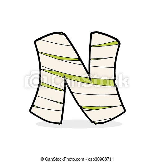 letter n monster zombie alphabetical icon medical bandages