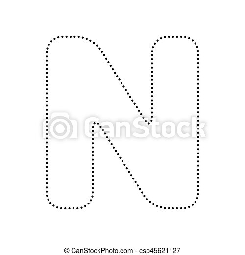 letter n sign design template element vector black dotted icon on