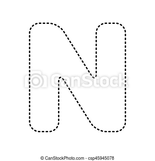 Letter N Sign Design Template Element Vector Black Dashed Icon On