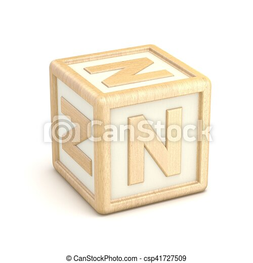 letter n wooden alphabet blocks font rotated 3d csp41727509