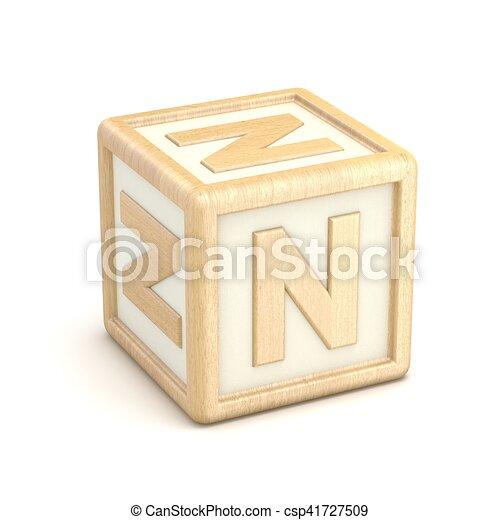 letter n wooden alphabet blocks font rotated 3d csp41727509