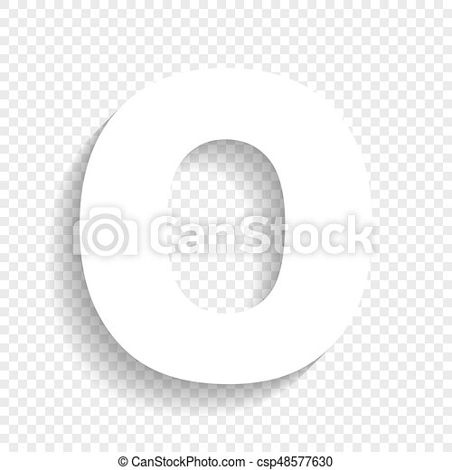 letter o sign design template element vector white icon with soft shadow on transparent background