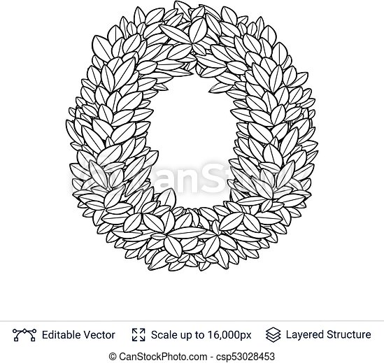 Letter O Symbol Of White Leaves Outline Shape Isolated On White