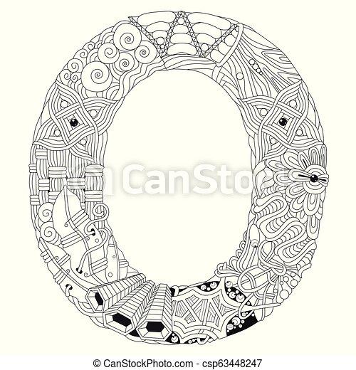 letter o zentangle vector decorative eps vector csp