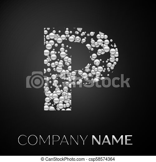 Letter P Logo Silver Dots Alphabet Logotype With Abstract Silver