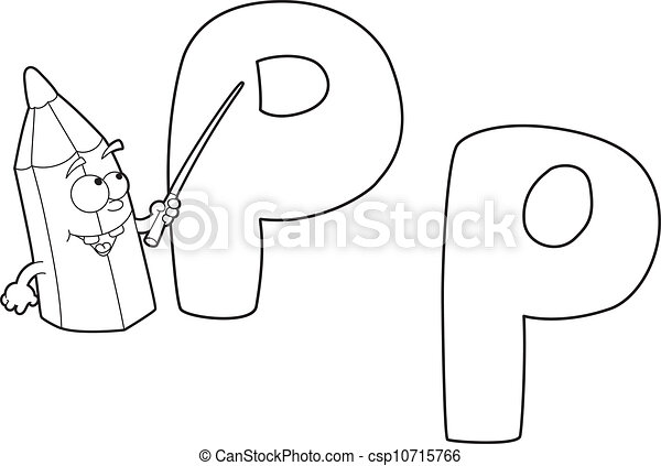 Letter P Pencil Outlined