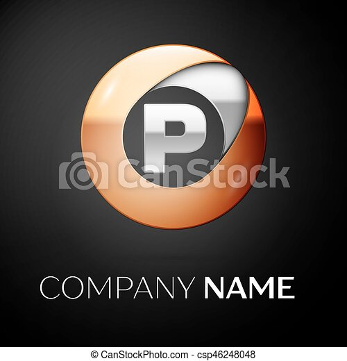 Letter P Vector Logo Symbol In The Colorful Circle On Black