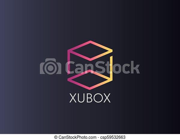 letter pb logo abstract alphabet sign design box cube icon