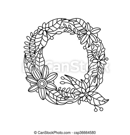 Letter Q Coloring Book For Adults Vector