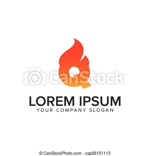 a311ef179eb8 letter Q ignition Flame logo design concept template. fully editable vector  - csp56151113
