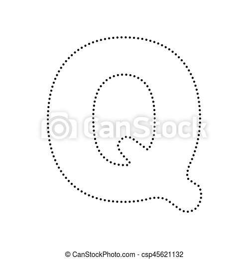 Letter Q Sign Design Template Element Vector Black Dotted Icon On