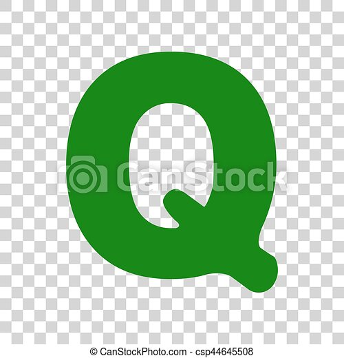 letter q sign design template element dark green icon on
