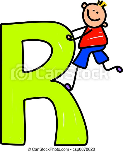 letter r boy happy little boy climbing over a giant letter stock rh canstockphoto com letter r clipart free letter r clipart free